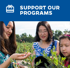 Support Our Programs button with picture of girls looking at plants